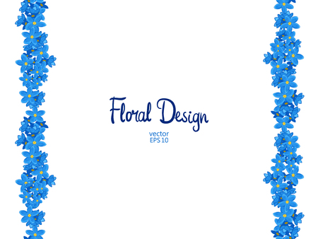 blue petals: Vector vertical border with blue forget-me-not flowers on a white background.