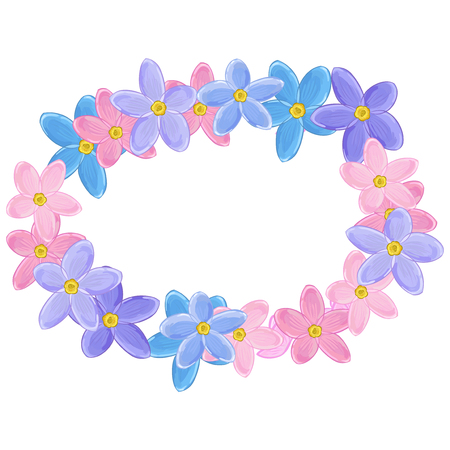 un: Small pink and violet Flowers arranged un a shape of horisontal oval wreath. Forget-me-not