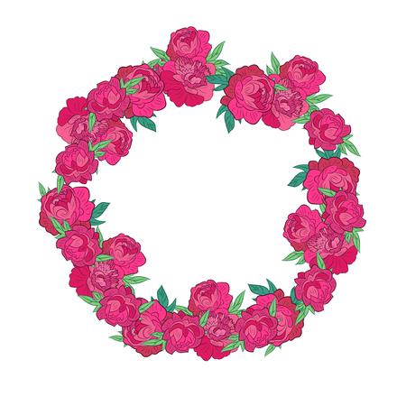 un: Floral Frame. Retro flowers arranged un a shape of the wreath