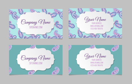 asian business people: Collection of two double-sided horisontal ornamental business cards. Paisley