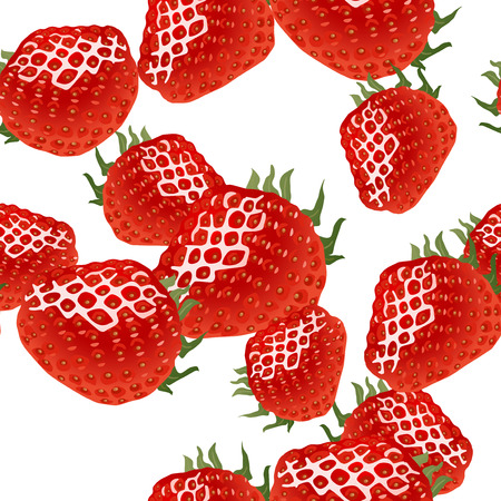 strawberries: Seamless pattern with red ripe strawberry on white background.