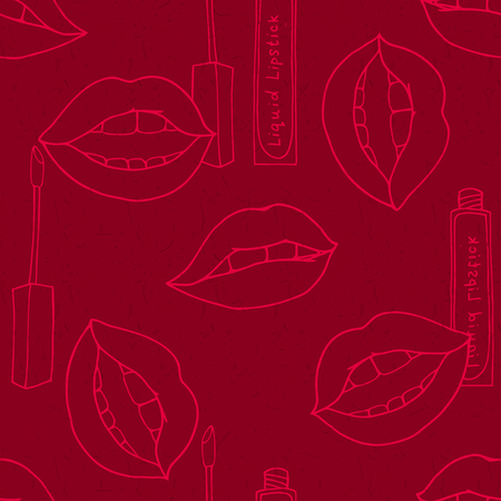 red wallpaper: Makeup seamless doodle outline pattern with lipstick and lips on red background