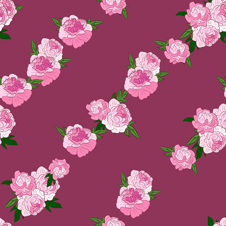 Seamless pattern with diagonal rows of pink peonies. Vector illustration. Good for web, wrapping paper.