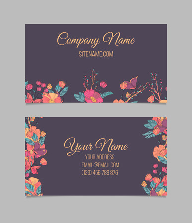cute cards: Double-sided floral business card with hand drawn flowers and butterfly on dark background. Illustration