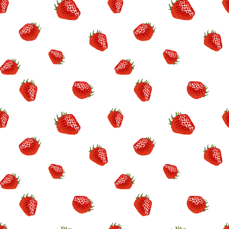 womanlike: Cute seamless pattern with small strawberry on white background. Good for web, wrapping paper, etc