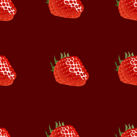 womanlike: Seamless pattern with strawberry on dark red background. Good for web, wrapping paper, print etc Illustration