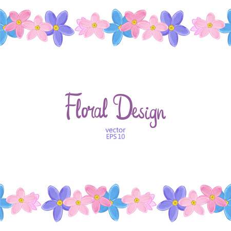 Vector horisontal border with blue, pink and violet forget-me-not flowers