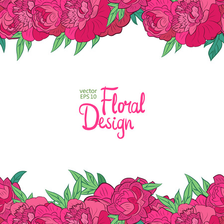 peonies: Vector horisontal border with peonies and place for your text