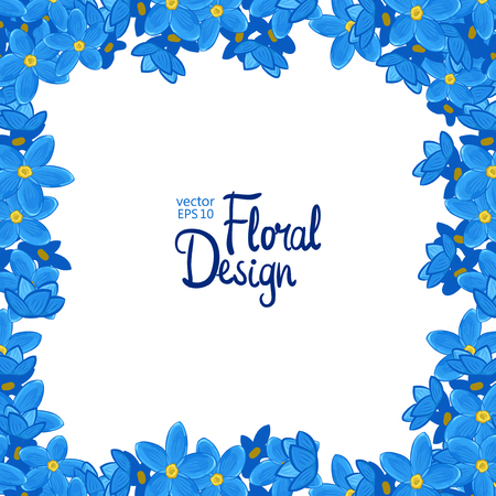square frame: Vector square frame with blue forget-me-not flowers on white background