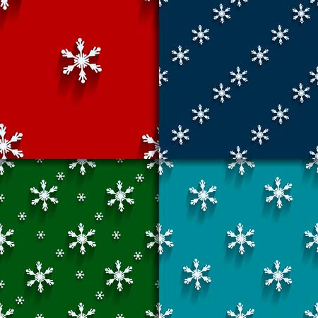christmas backgrounds: Seamless  pattern set with snowflakes. Four christmas backgrounds. Flat design