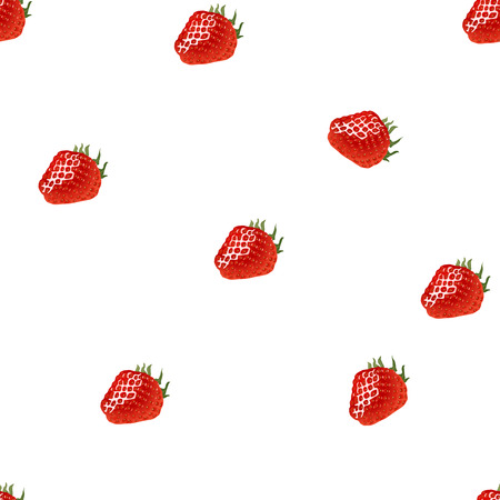 womanlike: Seamless pattern with strawberry on white background. Good for wrapping paper