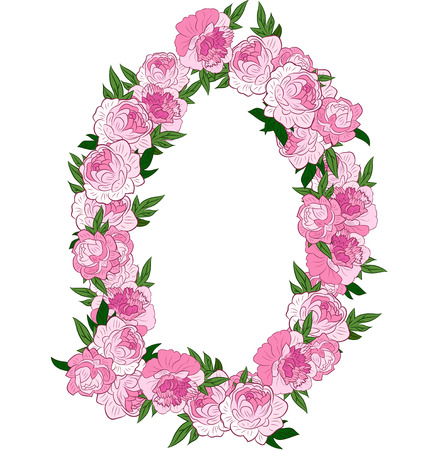 un: Floral Frame made of pink peonies. Retro flowers arranged un a shape of oval wreath perfect for wedding invitations and birthday cards