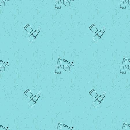 outline blue: Seamless pattern with nail polish. Fashion grunge outline blue illustration Illustration