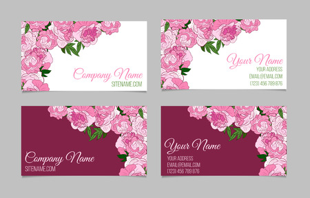 Double sided floral business card template with peonies on white double sided floral business card template with peonies on white and purple backgrounds stock vector friedricerecipe Images