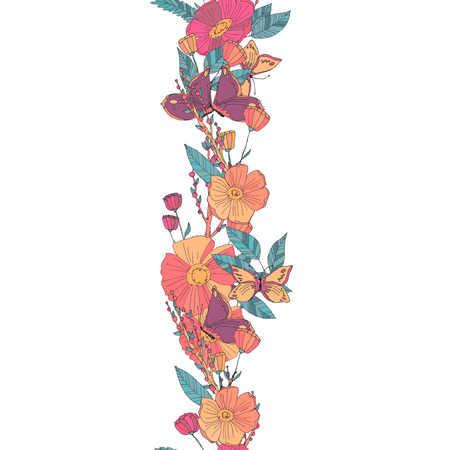 Floral seamless garland with flowers berries and  butterfly in warm colours. Autumn illustration