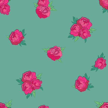 Seamless pattern with pink flowers on blue-green background. Good for web, print and wrapping paper