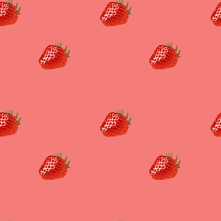 womanlike: Seamless pattern with  red ripe strawberry on pink background