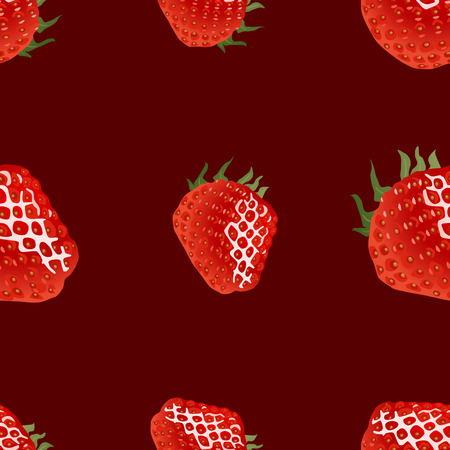 womanlike: Seamless pattern with ripe strawberry on dark red background. Good for web, wrapping paper, print etc