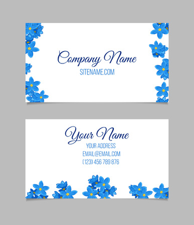 blue design: Floral business card temlate with blue forget-me-not flowers. double-sided