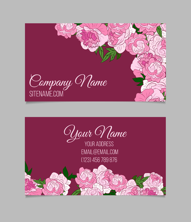 Double sided floral business card template with beautiful peonies double sided floral business card template with beautiful peonies on purple background stock vector accmission Choice Image