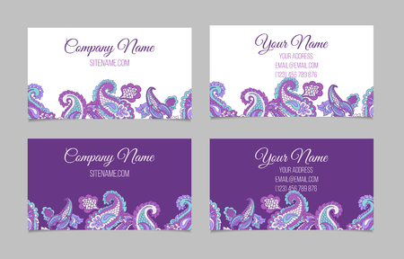 asian business people: Collection of two double-sided horisontal ornamental business cards with paisley in dark and light colours