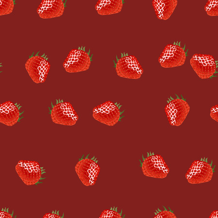 womanlike: Seamless pattern with ripe strawberry on dark red  background. Good for wrapping paper, print, web, etc.