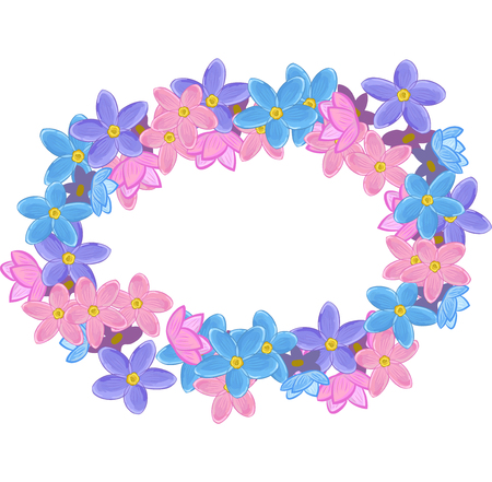 un: Small Flowers arranged un a shape of horisontal oval wreath. Forget-me-not Illustration