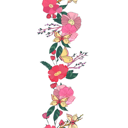 grunge background: Floral seamless garland with flowers berries and  butterfly in warm colours. Autumn illustration