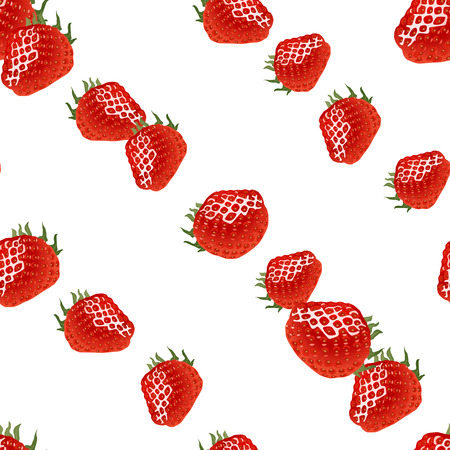 womanlike: Seamless pattern with diagonal rows of red ripe strawberry on white background