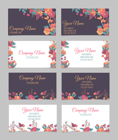 autumn flowers: Set of four double-sided floral vintage business cards with hand drawn autumn flowers, branches with berries and butterfly