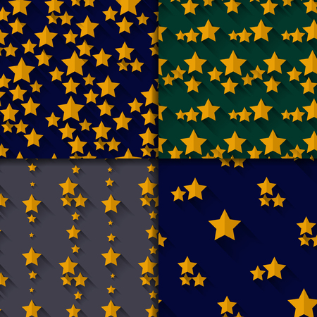 greeen: Set of four seamless  patterns with  stars on dark blue grey and greeen backkgrounds Illustration