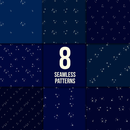 asterism: Starry sky set. Eight seamless patterns with stars on dark blue background Illustration