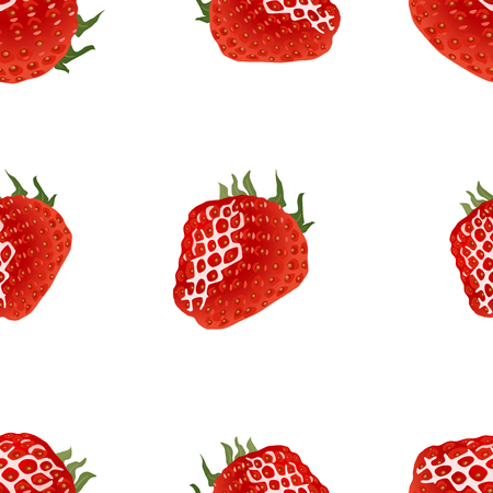 womanlike: Seamless pattern with ripe strawberry on white background. Illustration