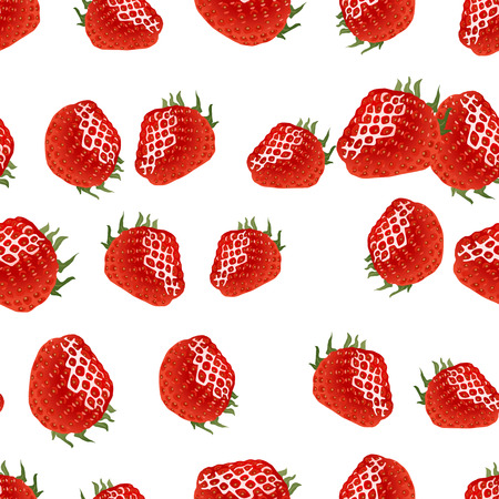 womanlike: Seamless pattern with red strawberry on white background