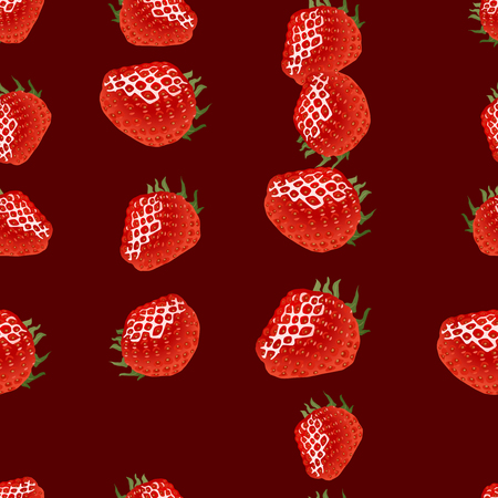 womanlike: Seamless pattern with ripe strawberry on dark red  background Illustration