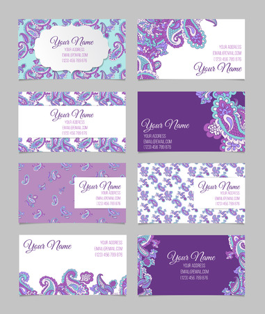 Collection of eight violet horisontal ornamental business cards. with paisley Banque d'images