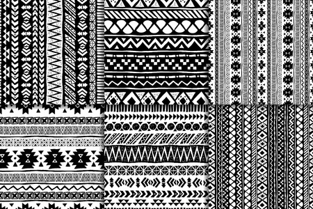 black american: Seamless black and white aztec pattern set, vector illustration. Six hand drawn backgrounds for your design Illustration