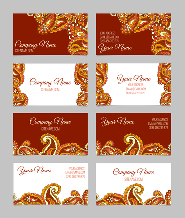 blank business card: Set of four double-sided ornamental business cards with paisley