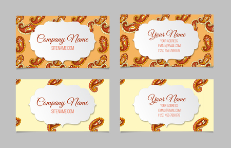 textured backgrounds: Collection of two double-sided ornamental business cards. Paisley