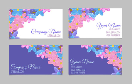 pastel backgrounds: Set of two double-sided floral business cards with small sweet flowers on white and violet background