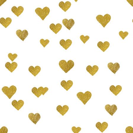 Oro brillante sin patrón de corazones en el fondo blanco.