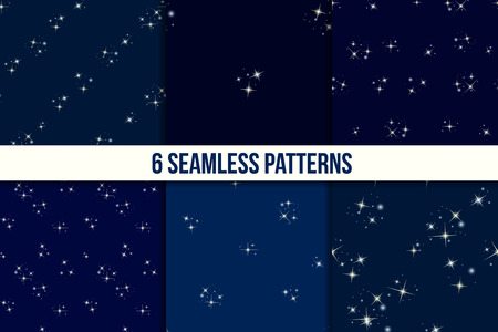 asterism: Starry sky set. Six seamless patterns with stars on dark blue background