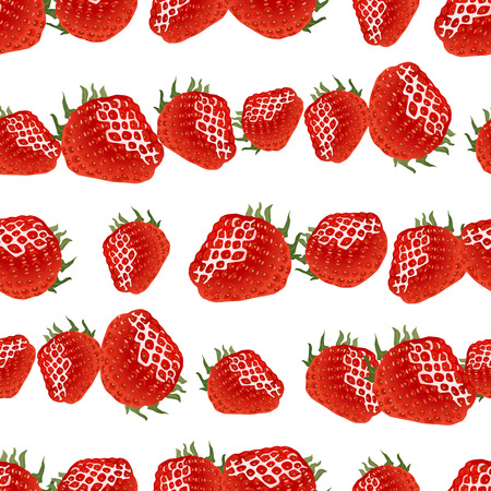 womanlike: Seamless pattern with red ripe strawberry on white background. Good for web, wrapping paper, etc Illustration