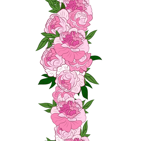 peonies: Vector seamless floral garland with pink peonies Illustration