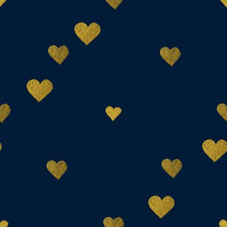Oro brillante sin patrón de corazones en el fondo azul. Bueno para web, impresión y papel de regalo