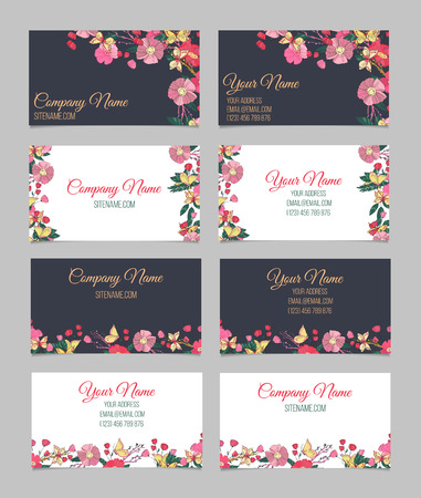 Set of four double-sided floral vintage business cards with hand drawn autumn flowers, branches with berries and butterfly