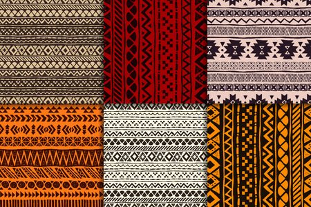 aztec: Seamless aztec pattern set, vector illustration. Six hand drawn backgrounds Illustration