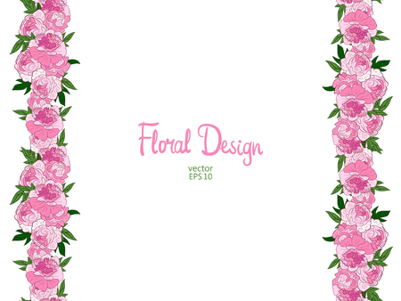 peonies: Vector border with pink peonies on a white background.