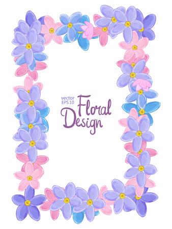 marco vertical del vector con el azul, rosa y violeta forget-me-not flores sobre un fondo blanco