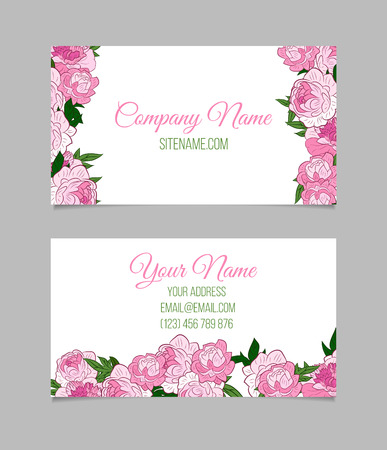 Double sided floral business card template with pink peonies royalty double sided floral business card template with pink peonies stock vector 50484258 wajeb Images